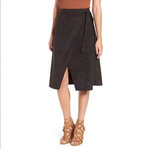 ASTR The Label black faux suede wrap midi skirt